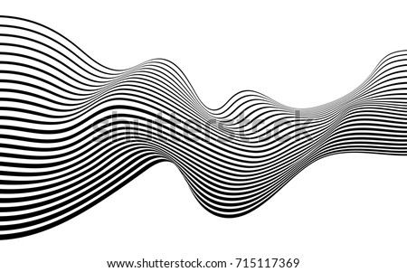 optical art abstract background wave design black and white #715117369
