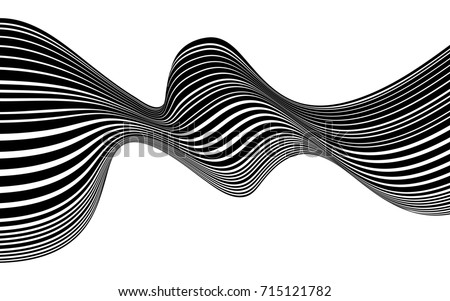 optical art abstract background wave design black and white #715121782