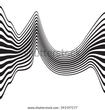 optical art opart striped wavy background abstract waves black and white #391597177