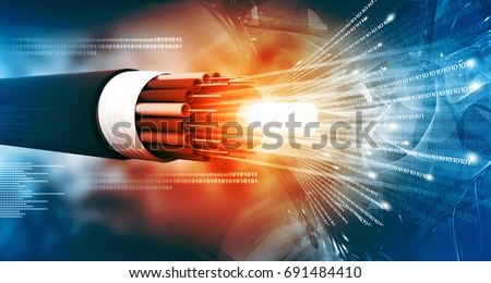 Optical fiber cable with binary cods. 3d illustration
