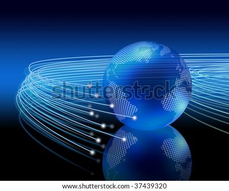 Optical fibers lights speeding on dark background around the digital earth globe