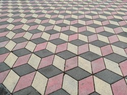 optical illusion and paving stone, paving stone laid in the form of optical illusion,