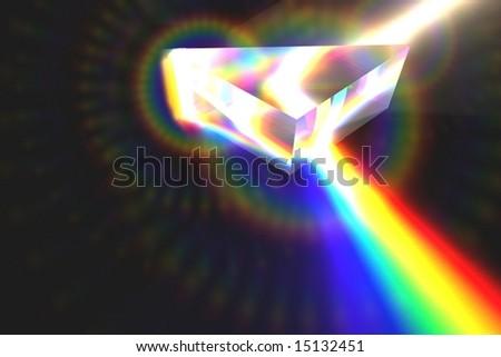 Optical Prism Illustration on black with Lens-Flares - stock photo