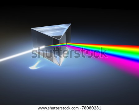 Optical prism refracting a ray of white light. Digital illustration. - stock photo