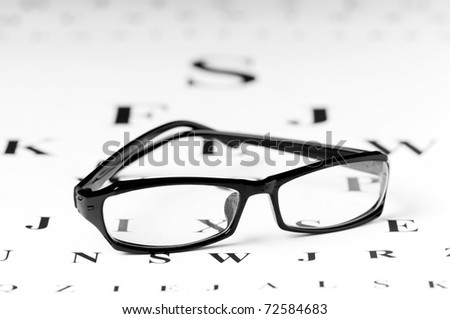 Optical reading glasses on the eyesight table