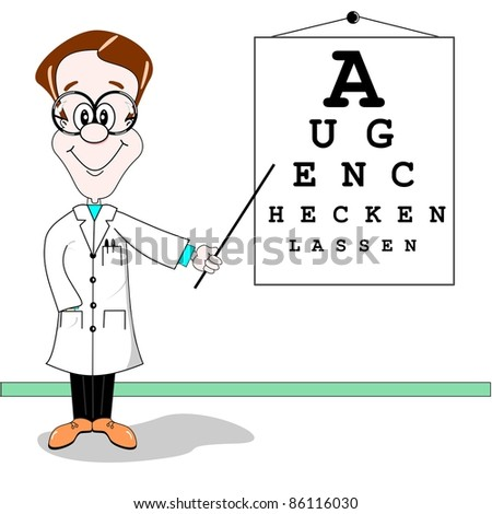 Optician cartoon. Get your eyes checked written in German