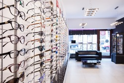 Optician's shop shelves with eyeglasses rims