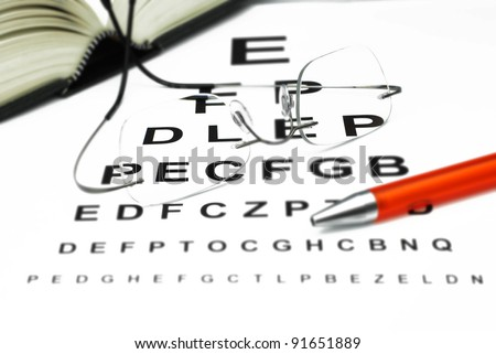 optician with eye test and book