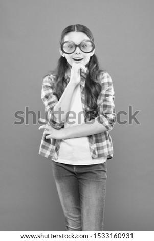 Optics and eyesight treatment. Effective exercise eyes zooming. Child happy with good eyesight. Eyesight and eye health. Improve eyesight. Sunglasses fancy accessory. Girl kid wear eyeglasses.