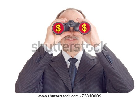 Optimistic businessman looking through binoculars-isolated on white