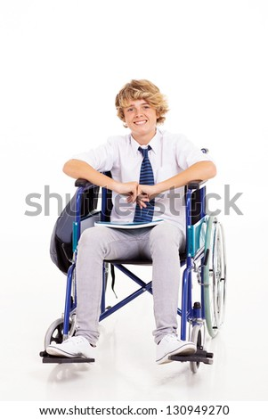 optimistic handicapped high school student sitting on wheelchair