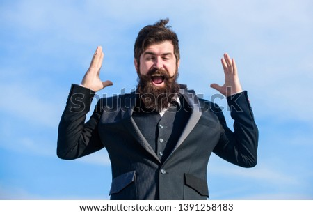 Optimistic mood. Think like optimist. Being optimistic. Hopeful and confident about future. Unexpected luck. Man bearded optimistic businessman wear formal suit sky background. Success and luck.