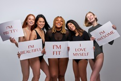 optimistic young models of different body size for bodypositive, convey the idea of loving yourself, be who you are