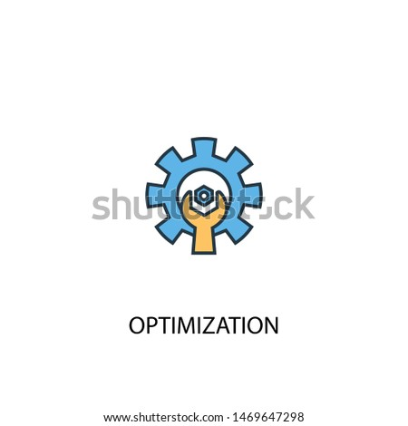 optimization concept 2 colored line icon. Simple yellow and blue element illustration. optimization concept outline symbol design