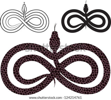 Options for  images snake. infinity sign. raster version