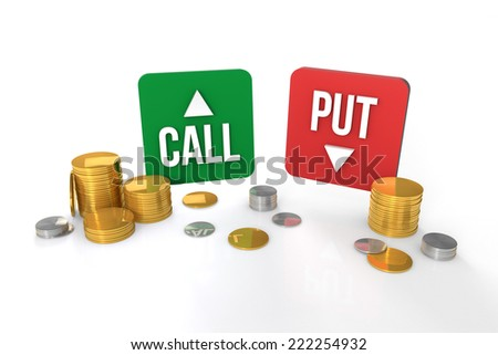 Options trading - call and put symbol with coins