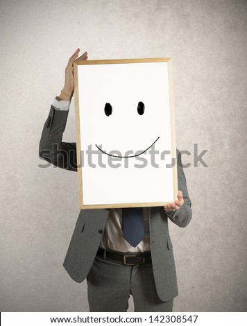 Optmist businessman with designed smile