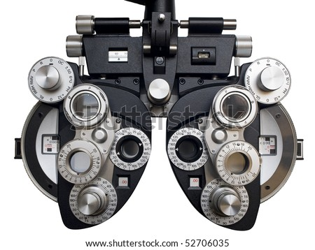 Optometrist diopter. White background.