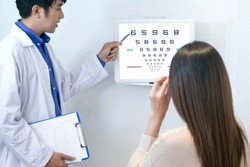 Optometrists point to vision charts to examine the eyesight of Asian women patients, in ophthalmology clinic, selective focus
