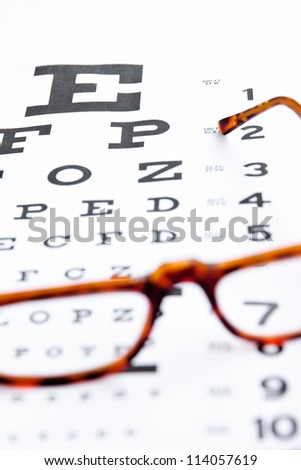 optometry concept, close up at eye chart