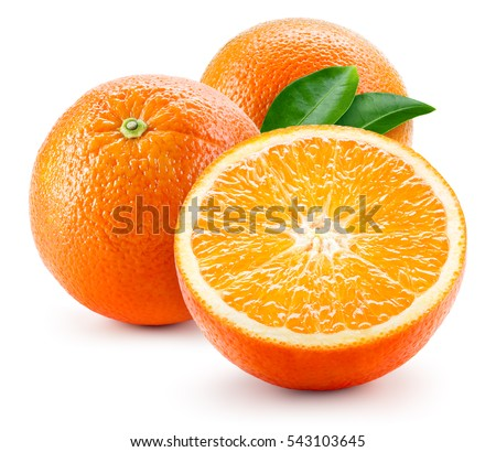 Orang fruit isolate. Orange with leaves isolated on white.