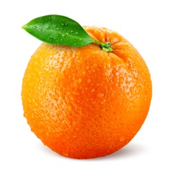 Orang fruit isolate. Orange with leaves isolated on white. With leaf.