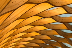 Orange Abstract Architecture Patterns of a Wooden Pavilion