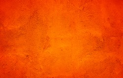 Orange Abstract Background. Painted Orange Color Stucco Wall Texture With Copy Space. Bright Art Wallpaper