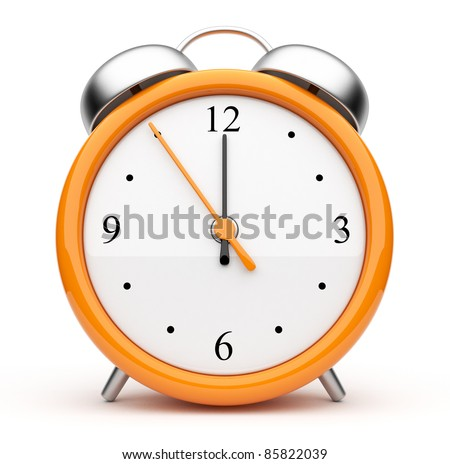 Orange alarm clock 3d. Icon. Isolated on white