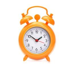Orange alarm clock isolated on white background