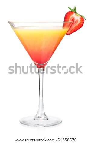 Orange alcohol cocktail with strawberry. Isolated on white background