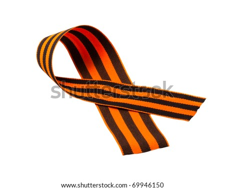orange and black striped ribbon symbol on May 9 and 23 February