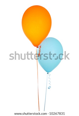 Orange and Blue Balloons Isolated on a White Background
