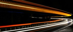 orange and blue car lights at night
