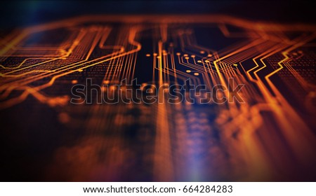 Orange and blue technology background circuit board and code. 3d Illustration/Orange,  blue technology background