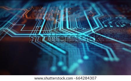 Orange and blue technology background circuit board and code. 3d Illustration/Orange,  blue technology background