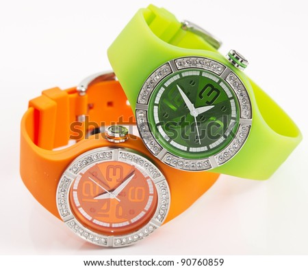 orange and green watches