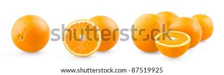 Orange and group of oranges on white background