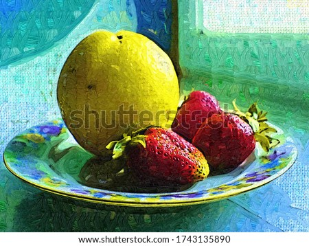 Orange and juicy strawberries on a plate in the style of painting in the style of Fauvism