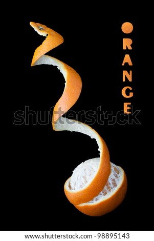 Orange and levitating curling peel going upwards against a black background with the word orange written with orange peel