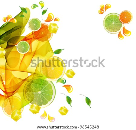 Orange and lime juice colorful splash with abstract wave, illustration