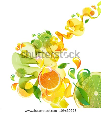 Orange and lime juice splash with abstract wave, illustration