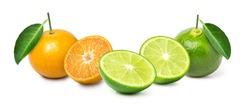 orange and lime, mixed citrus fruit isolated on white