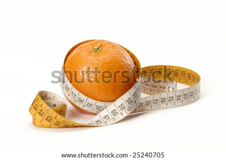 Orange and measuring tape isolated on white.
