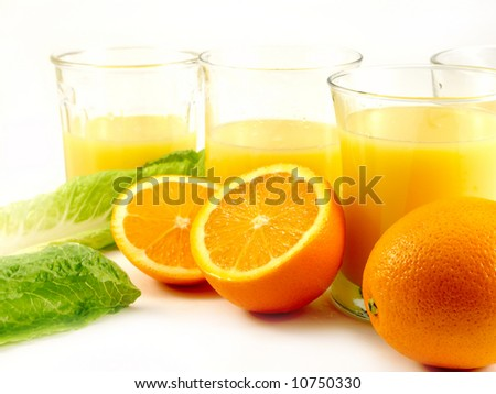 Orange and orange juice in a glass