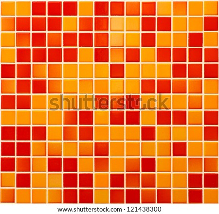 Orange and red stoneware mosaic texture background