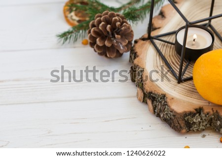 Orange and sea buckthorn on a white wooden background, christmas food,  concept of seasonal vitamins and healthy eating. Copy space #1240626022