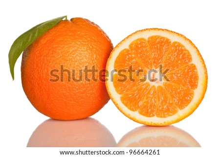 orange and slice of orange isolated on white