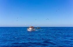 Orange and white fishing boat followed by seagulls on aegean sea. blue sky and sunny day