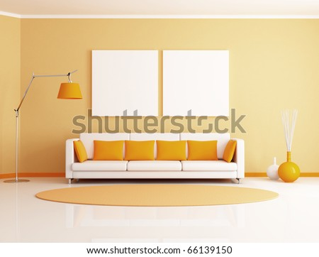 orange and white minimalist living room - rendering